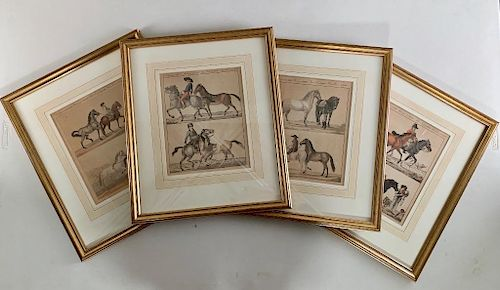Four Framed Hand Colored Engravings of Horse Training