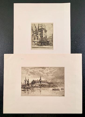 Two Etchings; Axel Haig (Sweden 1835-1921) Drypoint