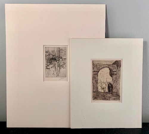 Two Etchings; Albert R. Thayer and Marius Bauer