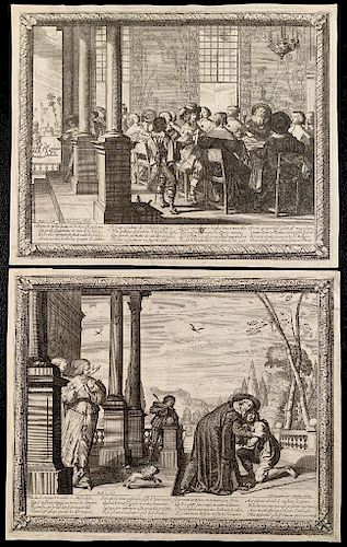 Two 17th Century Engravings; The Return of the Prodigal