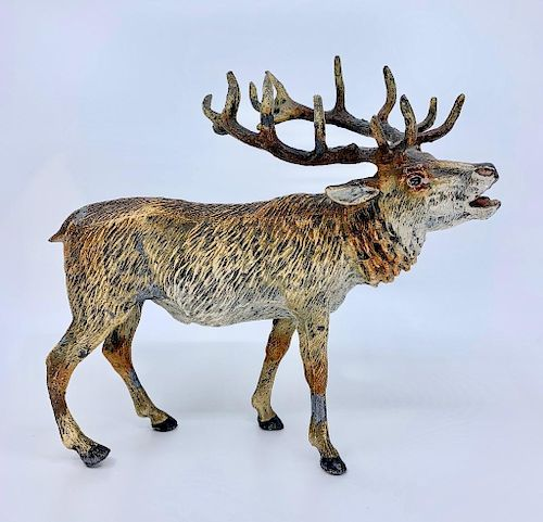 Cold Painted White Metal Figure of a Buck
