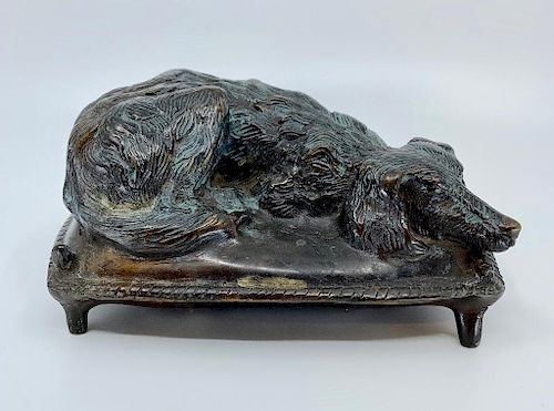 Bronze Figure of a Dog on Pillow