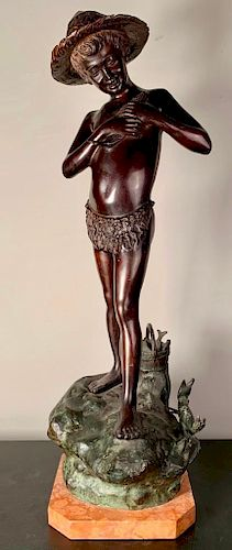 Artist Signed Bronze Sculpture Fisher Boy, 19th Cen.
