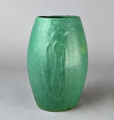 American Art Pottery Green Glazed Vase