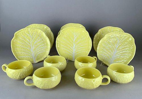 Portuguese Ceramic Cauliflower Molded Bowls and Plates