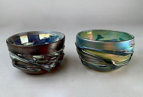 Two Herb A. Thomas Studio Glass Bowls, Modern