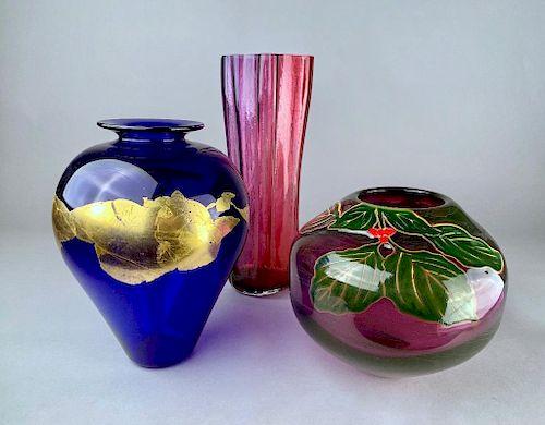 Three Signed Pieces of Studio Art Glass, Modern