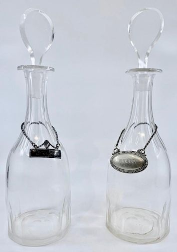 A Pair of Irish or English Glass Decanters