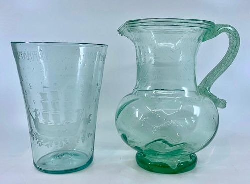 Two Pieces of Steigel Type Glass