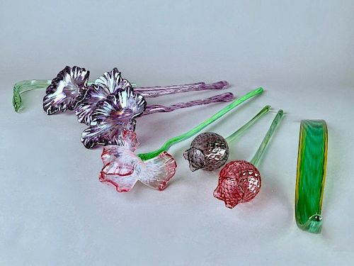Eight Assorted Blown Glass Flowers and Leaves