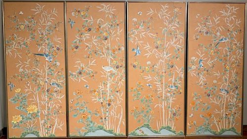 Four Gracie, NY Framed Hand Painted Wallpaper Panels