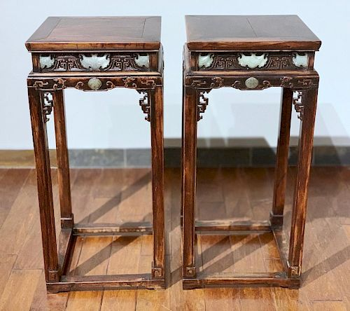 A Rare Pair of Chinese Carved Jade Mounted Plant Stands, 19th Cen.