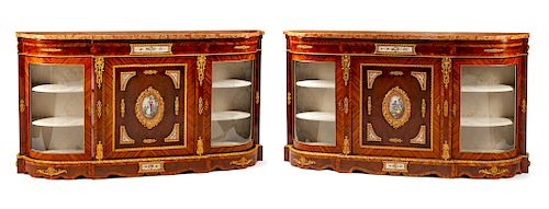 A Pair of French Gilt Metal and Painted Porcelain Mounted Marble-Top Console Cabinets