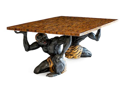 A Gilt and Patinated Metal Figural Table