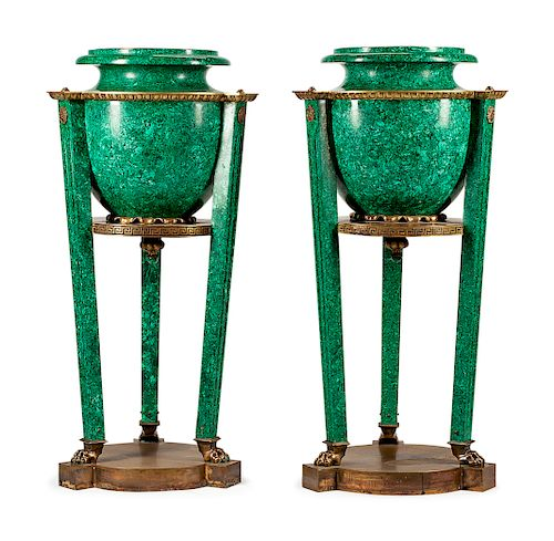 A Pair of Russian Neoclassical Gilt Metal Mounted Malachite Veneered Urns