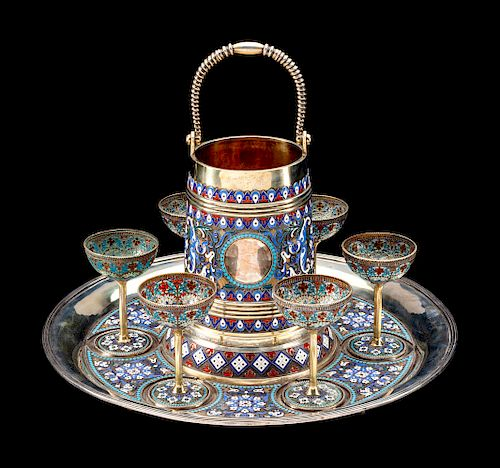 A Russian Enameled Silver and Plique-a-Jour Enamel Drink Service
