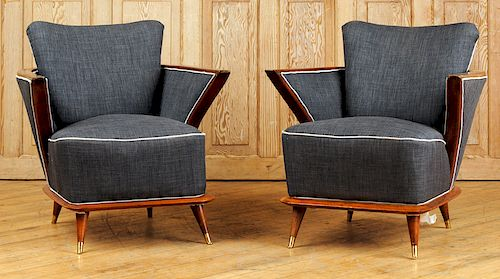 PAIR UPHOLSTERED MID CENTURY MODERN CLUB CHAIRS