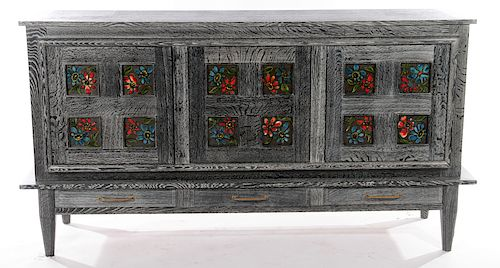 RARE FRENCH CERUSED OAK SIDEBOARD 1950
