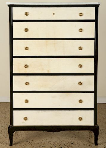 EBONIZED PARCHMENT TALL CHEST MARBLE TOP C.1940
