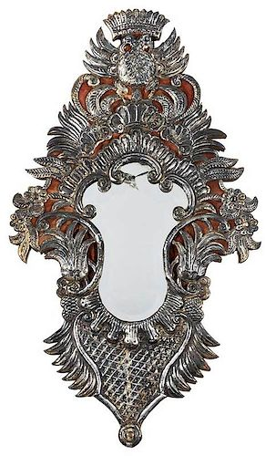 Repousse Silver Wall Mirror With Double Eagle