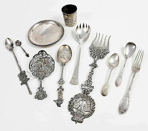 28 Pieces  Continental Silver Flatware