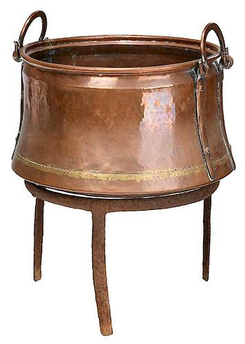 Hammered Copper Cauldron on Wrought Iron Stand