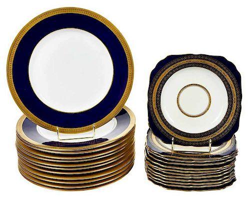 24 Cobalt Blue and Gilt Minton Plates