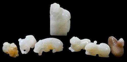 Seven Small Carved Jade Toggles of Animals