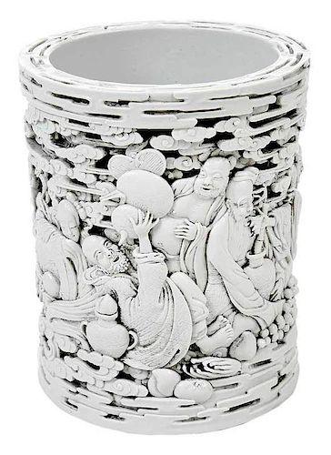 Chinese White Bis Glazed Brush Pot