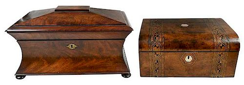 Two 19th Century Wooden Tabletop Boxes