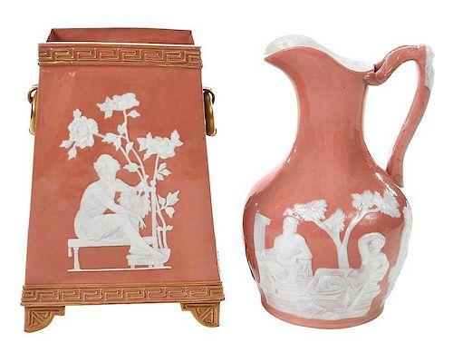 Two Pieces Pate-Sur-Pate Porcelain