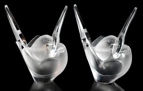Two Lalique Sylvie Frosted Glass Bird Vases