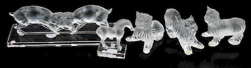 Five Lalique Glass Animal Figures