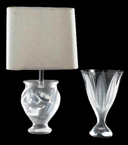 Lalique Frosted Glass Lamp and Vase