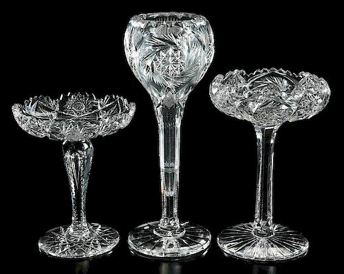 Brilliant Period Cut Glass Compotes and Vase