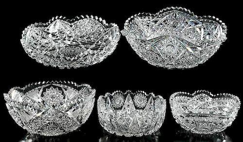 Five Brilliant Period Cut Glass Bowls