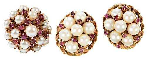 14kt. Gemstone & Pearl Earring and Ring Set