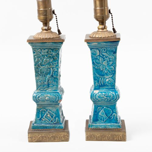 Pair of Chinese Pottery Turquoise Glazed Gu Form Vases, Mounted as Lamps