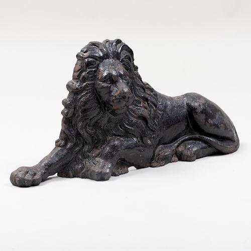 Recumbent Lion Form Black Painted Cast-Iron Door Stop