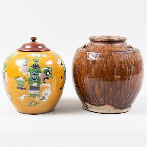 Chinese Yellow Glazed Pottery Ginger Jar and a Brown Glazed Jar