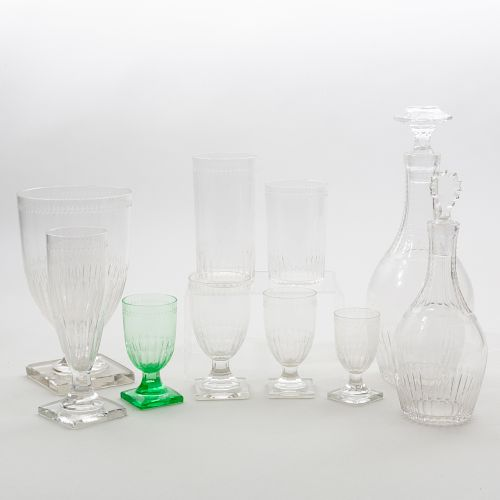 Group of Etched and Cut Glass Stemware and Tableware