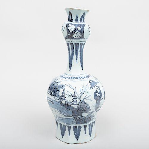 Dutch Delft Blue and White Octagonal Bottle Vase
