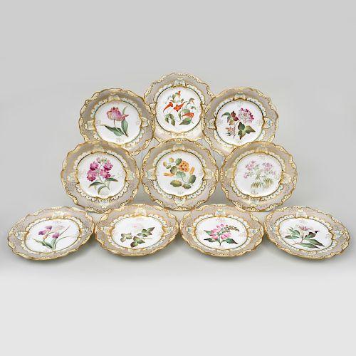 Set of Ten Coalport Porcelain Gray Ground Plates