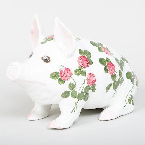 Large Wemyss Porcelain Pink Clover Pig