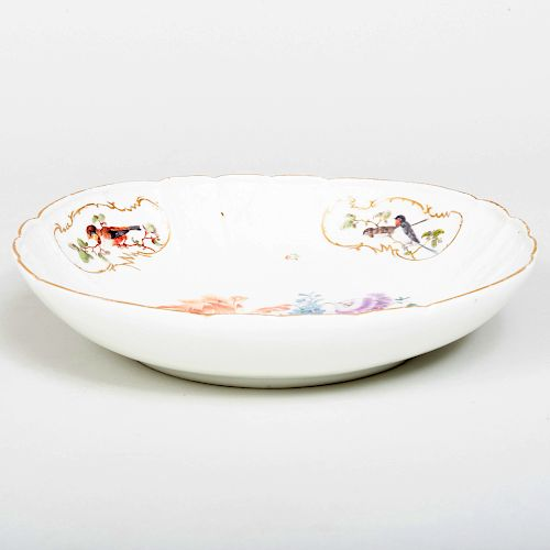 Meissen Porcelain Circular Dish Decorated with Birds