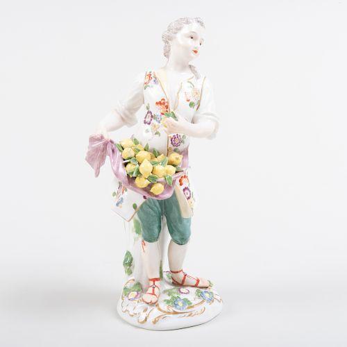 Continental Porcelain Figure of a Lemon Vendor, Probably Zurich