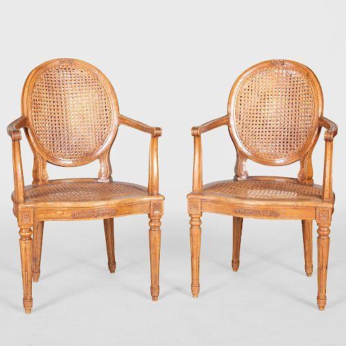 Pair of Louis XVI Style Carved Beechwood Fauteuils en Cabriolet