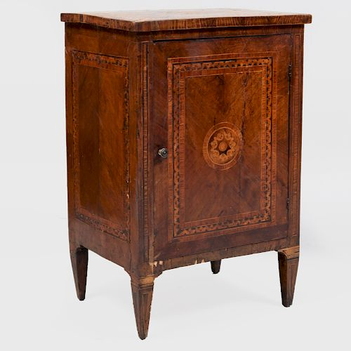 Italian Walnut and Fruitwood Marquetry Side Cabinet