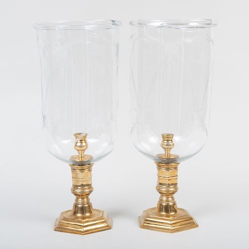 Pair of Louis XIV Style Brass and Etched Glass Photophores