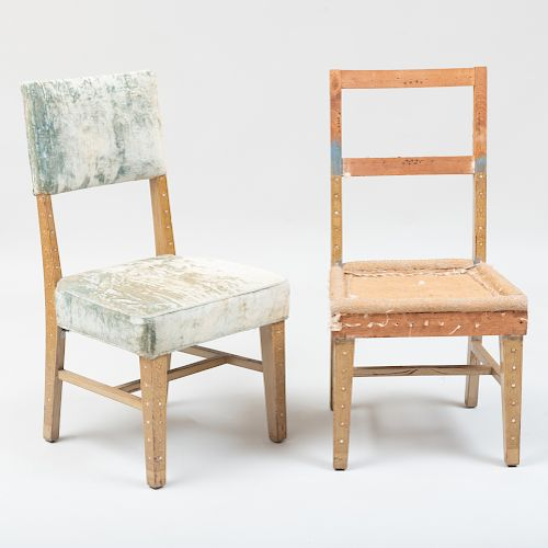 Pair of American Painted and Mother-of-Pearl Inlaid Side Chairs, in the style of Associated Artists